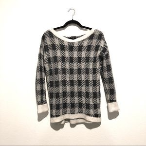 Express Black and White Plaid Sweater